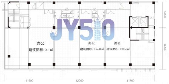 项目办公室共36套,标准层平面户型图已经出来了,从图上看,每层设有三