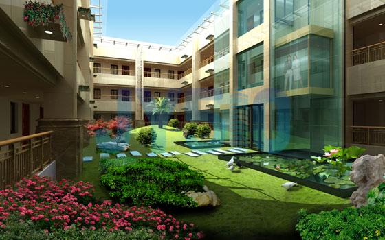 四合院式公寓围合中庭花园