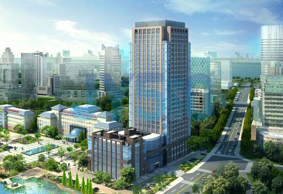 总部壹号效果图,裙楼为大堂及精装公寓