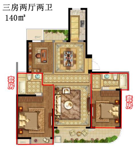 (140㎡三房两厅两卫户型图)