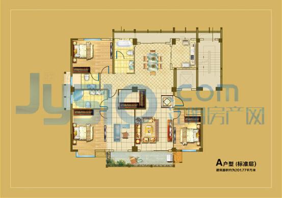 120平方房子设计图三楼四房一厅