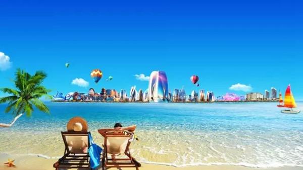 看日出,逛特色的商业街,欣赏椰风海韵带来的热带风情,再入住海花岛