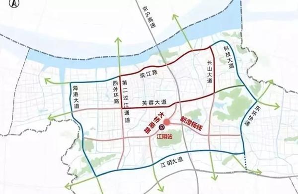 大桥南路快速化改造示意 大桥南路快速化改造工程北起芙蓉大道,向西南方向,经规划江阴高铁站,终于徐霞客大道,全长约5km。沿线分别与埠路桥路(皮弄路)、新澄杨路、花山路、西桥路、虹桥南路等多条主要道路相交。计划于2019年开工建设。 另一条高铁配套道路 新澄杨线工程 也通过了初步设计方案论证!